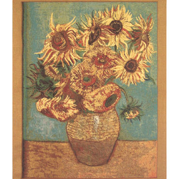 Sunflowers -  Gold Tapestry Wall Art Hanging
