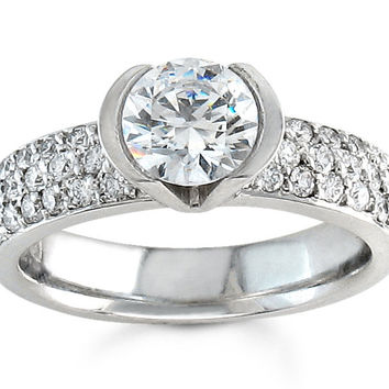 Ladies 18kt white gold pave diamond engagement ring 0.40 ctw with 1ct Round white sapphire