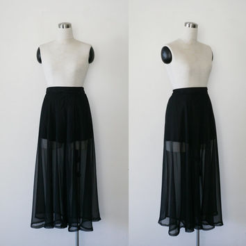 1980's sheer palazzo pants / black chiffon pants with built in shorts M L