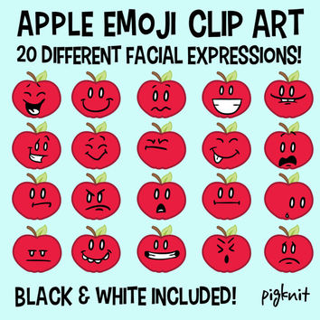 Apple Clip Art, Emoticon Clip Art, Facial Expressions, Face Clipart, Emoji Clip Art, Fruit Clip Art, Classroom Download, Back 2 School Apple