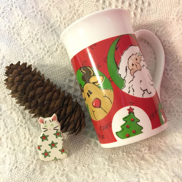 Reindeer Santa Snowman Mug Royal Norfolk Vintage Christmas Cup Red Green White Tan Brown Black Ceramic Holiday Mug With Snowflake Tree Hat