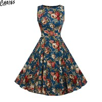 Women 3 Colors Vintage Floral Print Sleeveless Bow Waist Elegant A Line Skater Midi Dress Cute Lolita Plus Size Clothing