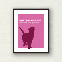 Cat Art - The Love of a Cat - pink decor and purple decor -  8x10 Charles Dickens art print