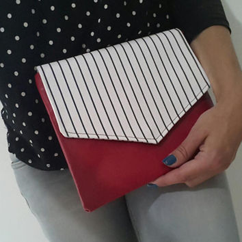 red small clutch, striped clutch, black and white,  summer handbag