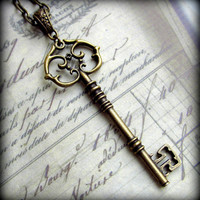 Large Skeleton Key Necklace in Antique Brass Finish, Extra Long Chain