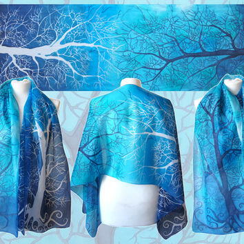Blue scarf - White & Navy Tree silk scarves - silk handpainted - gradient blue teal to ultramarine shades - wrap - 63x17 inches