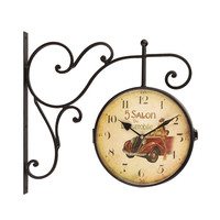 Adeco Retro Vintage-Inspired Round Wall Hanging Clock with Scroll Wall Mount, Red Antique Car Home Decor