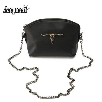 Skull handbags  Messenger Bags Cow  Leather