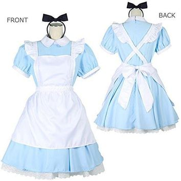 2018 Halloween Women Adult Anime Alice In Wonderland Blue Party Dress Alice Dream Women Sissy Maid Lolita Cosplay Costume