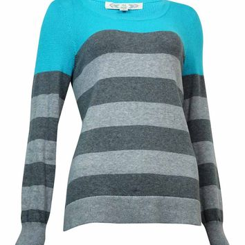 Pink Rose Juniors Contrast Striped Mesh Yoke Sweater