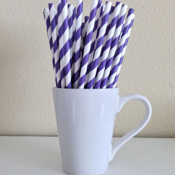 Paper Straws - 25 Purple and White Striped Party Straws Birthday Wedding Baby Shower Bridal Shower Graduation