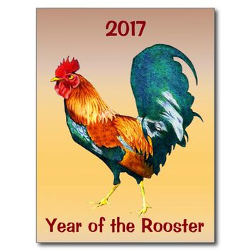 Chinese New Year of the Rooster Calendar Postcard