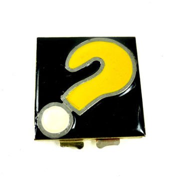 Vintage Question Mark Compact Mirror Yellow and Black Enamel