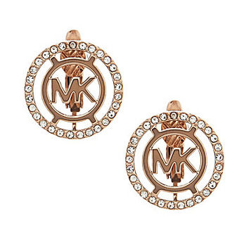 Michael Kors MK Logo Pave Clip On Earrings - Gold