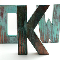 Faux Metal Letters - Copper - Metal - Antique - Patina - Aged - Vintage - Industrial - Decorative - Rustic - Old - Beautiful