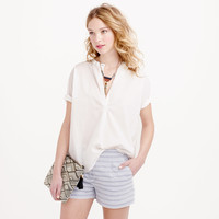 COLLARLESS SHORT-SLEEVE POPOVER