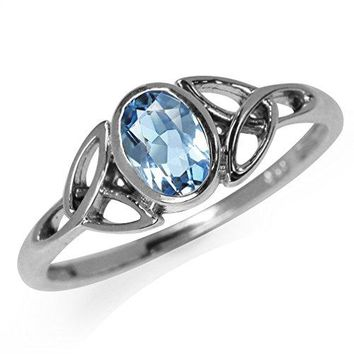 Genuine Blue Topaz 925 Sterling Silver Triquetra Celtic Knot Ring