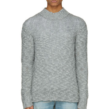 Mcq Alexander Mcqueen Grey Twist-knit Sweater