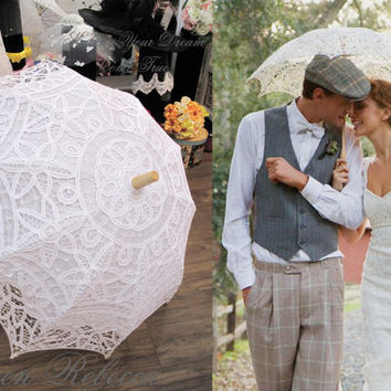 Special Offer Battenburg Lace Vintage Umbrella Parasol For Bridal Bridesmaid Wedding