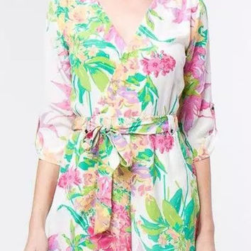 White Floral Belted Rompers with Sleeve