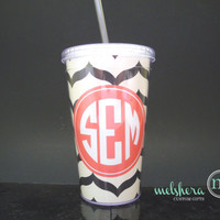 Bridesmaid Gift Pattern Monogram Custom Personalized Tumbler - Monogram Cup 16 oz With Straw