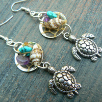 sea turtle dreamcatcher earrings sea turtle seashells cuff in beach mermaid boho gypsy hippie hipster beach and fantasy style