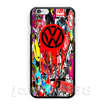 New VW Sticker Bomb Volkswagen Dub Bug Beetle For all iPhone Print On Hard Case