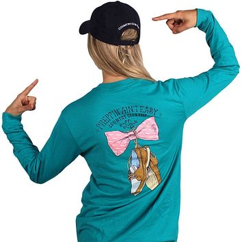 Exclusive Preppin' Ain't Easy Long Sleeve Tee in Tropical Green by Lauren James & CCP - FINAL SALE