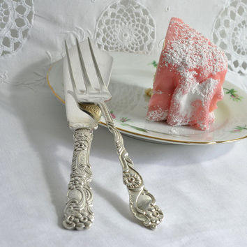 Ornate cake set, vintage wedding cake knife and fork, vintage Swedish cake and pie cutter