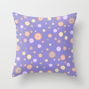 Multicolor buttons pattern. Lilac Throw Pillow by ArtGenerations