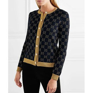 GUCCI Classic Popular Women Casual GG Letter Long Sleeve Knit Sweater Cardigan Jacket Coat Purplish Blue