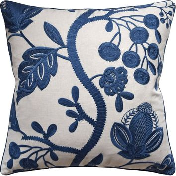 Alladale Embroidery Blue Decorative Pillow