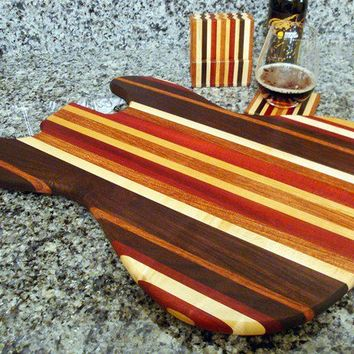 Handmade Wood Jazzy Bass Guitar Cutting Board and Matching Coaster Set - Bloodwood & Peruvian Black Walnut
