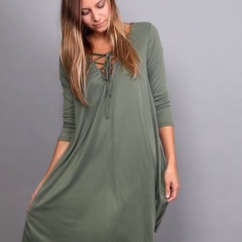 Catch Me When I Fall Dress {Olive}