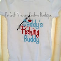 Daddy's fishing buddy embroidered shirt/Onesuit