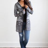 Tribal Hooded Knit Cardigan - Charcoal/Grey