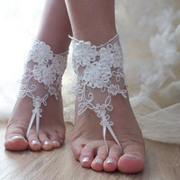 Free Ship ivory  barefoot beach wedding anklet bellydance  beach pool country wedding sexy feet bridesmad weddingday