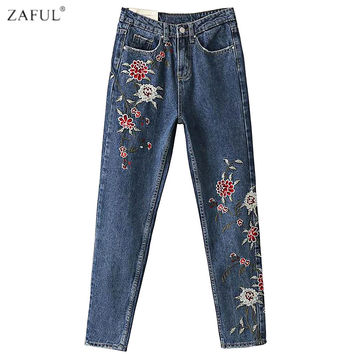 ZAFUL Woman Floral Embroidered Jeans Autumn Winter High Waist Light Blue Pencil Denim Jeans Pants Capris European Femme Trousers