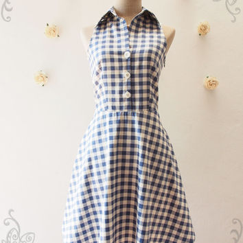 Shirt Dress, Blue Gingham Dress, Vintage Style Dress, Cute Summer Sundress, Blue Tea Dress, Party Dress, Working Dress Size S, M, L