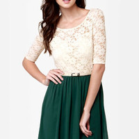 All My Lovin' Beige and Dark Green Lace Dress