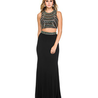 Black Beaded Two Piece Open Back Dress 2015 Homecoming Dresses