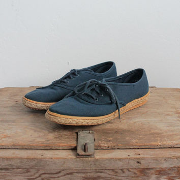 Vintage 90s Navy Canvas Espadrilles Tennis Shoes | women's 7