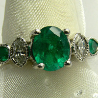 2.20tcw Traffic Stopping- Colombian Emerald & Diamond Cocktail Ring 14k