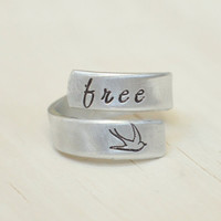 free bird - hand stamped ring - inspirational ring for girls