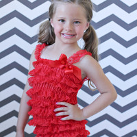 Lace Ruffle Baby Romper Red