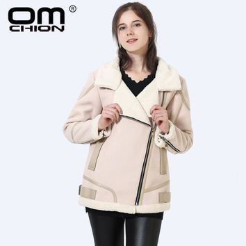Long Sleeve Faux Fur Coat Turn Down Collar Winter Jacket Women PU Leather Patchwork Inside Fur Jackets
