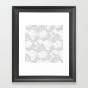 White Floral Poms Framed Art Print by All Is One