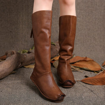 2017 Vintage Women Boots Knee High Genuine Leather Back Zip Handmade Shoes High Boots