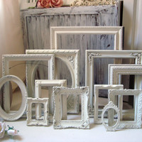 Cottage Chic Antique White Set of 12 Vintage Frames, Off White Picture Frames, Wedding Frames, Ornate Frames, Frame Gallery, Shabby Chic