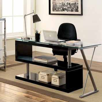 Furniture of america CM-DK6131BK Bronwen collection black finish wood and glass top l shaped convertible desk